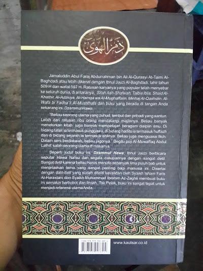 Buku Dzammul Hawa Melepaskan Diri Dari Belenggu Hawa Nafsu Cover Belakang