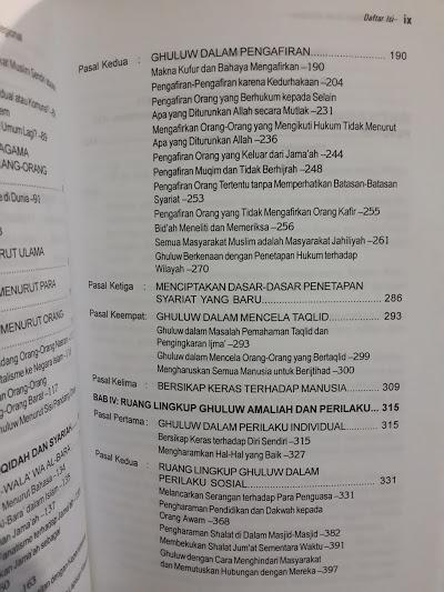 Buku Ghuluw Benalu Dalam Ber-Islam Daftar Isi