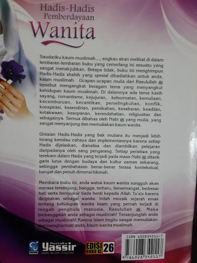 Buku Hadits-Hadits Pemberdayaan Wanita Cover 2