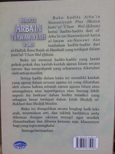 Buku Saku Hadits Arba'in Nawawiyyah Cover Belakang