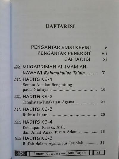 Buku Saku Hadits Arba'in Nawawiyyah Daftar Isi