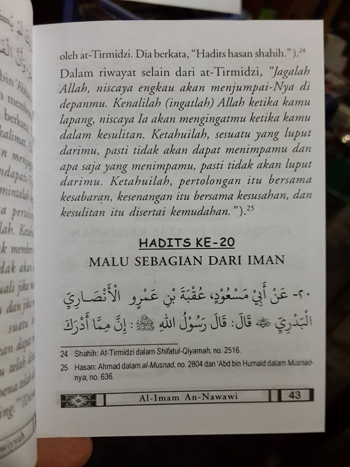 Buku Saku Hadits Arba'in Nawawiyyah Isi