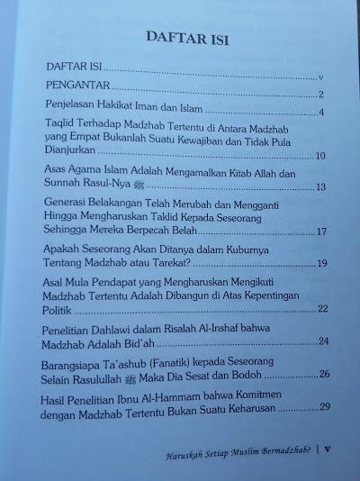 Buku Haruskah Setiap Muslim Bermadzhab Daftar Isi