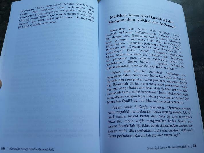 Buku Haruskah Setiap Muslim Bermadzhab Isi