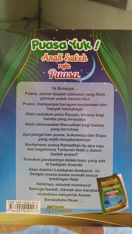 Buku Anak Hidup Sehari-hari Dengan Sunnah Nabi (Puasa Yuk) cover 2