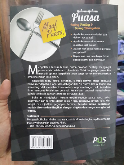 Buku Hukum-Hukum Puasa Paling Penting Dan Sering Ditanyakan Cover Belakang
