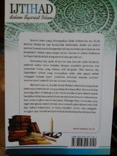Buku Ijtihad Dalam Syariat Islam Cover Belakang