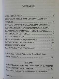 Buku Ilmu Dan Keutamaannya Daftar Isi