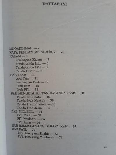 Buku Ilmu Nahwu Terjemahan Matan Ajurumiyah Dan Imrithy Daftar Isi