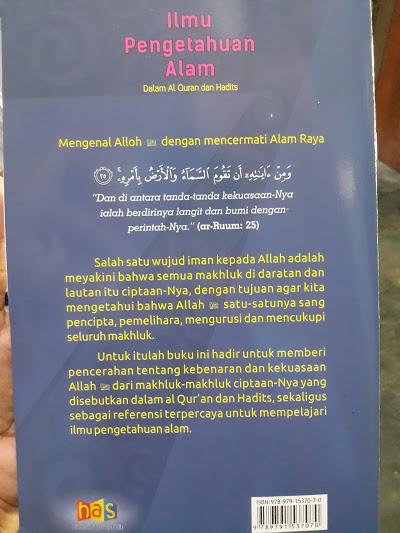 Buku Anak Ilmu Pengetahuan Alam Dalam Al-Quran Hadits Cover Belakang