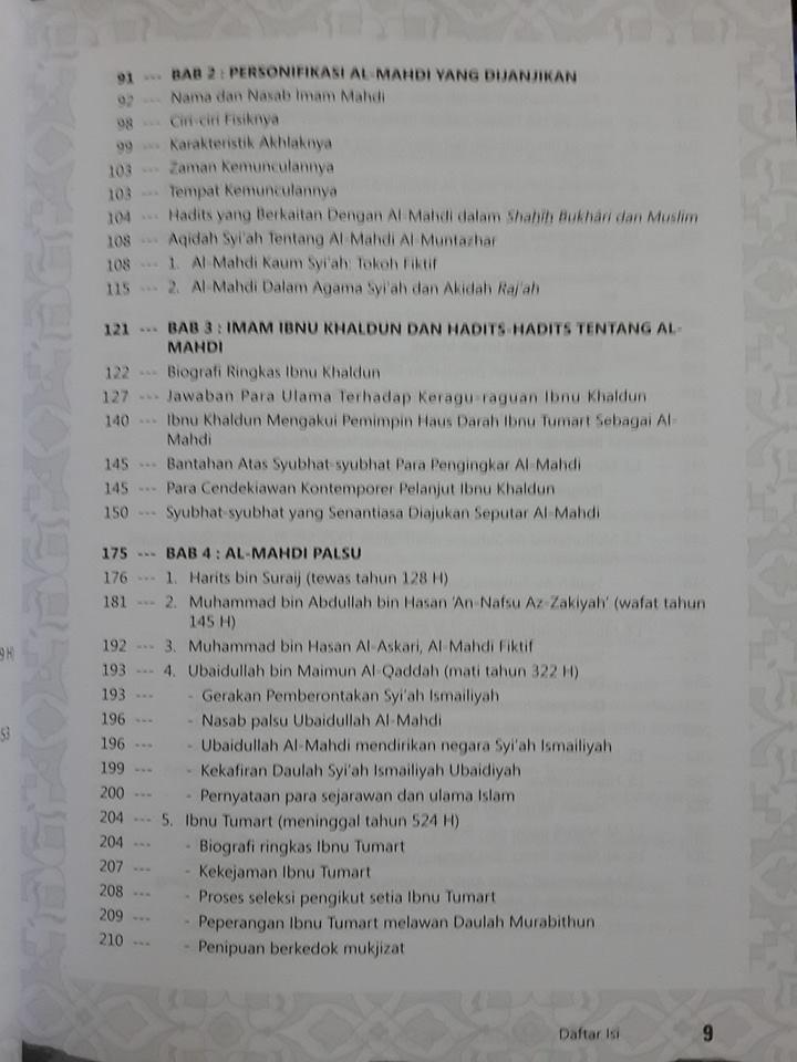 Buku Inikah Al-Mahdi Yang Dijanjikan Daftar Isi