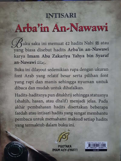 Buku Intisari Arba'in An-Nawawi Cover Belakang