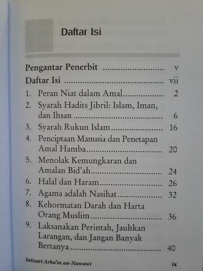 Buku Intisari Arba'in An-Nawawi Daftar Isi