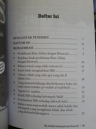 Buku ISIS Khilafah Islamiyyah Atau Khawarij Daftar Isi