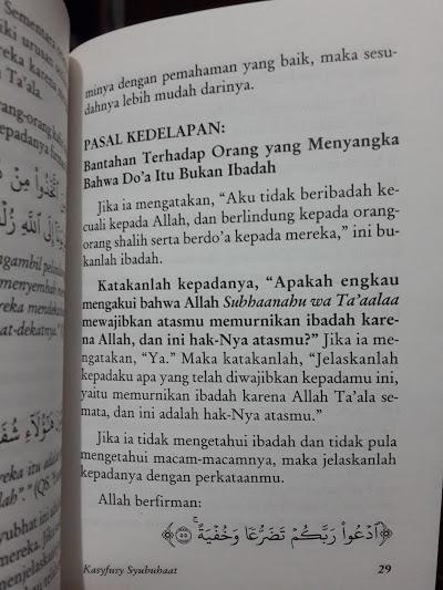 Buku Saku Kasyfusy Syubuhaat Menghilangkan Kerancuan Aqidah Isi