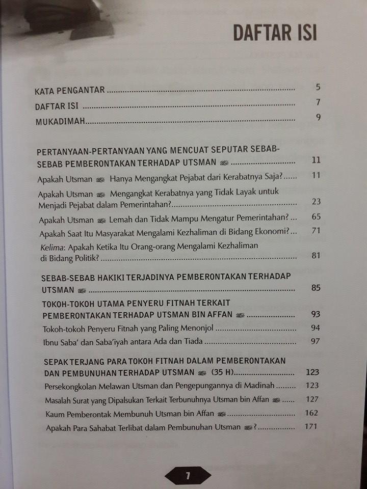 Buku Kemelut Di Masa Utsman bin Affan Daftar Isi