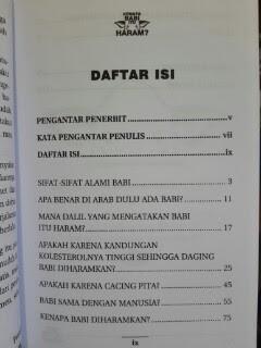 Buku Kenapa Babi Itu Haram Daftar Isi