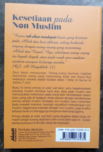 Buku Saku Kesetiaan Pada Non Muslim Sikap Pada Non Muslim Cover Belakang