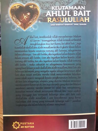 Buku Keutamaan Ahlul Bait Rasulullah Dari Riwayat Shahih Cover Belakang