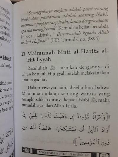 Buku Saku Keutamaan Istri-Istri Rasulullah Isi