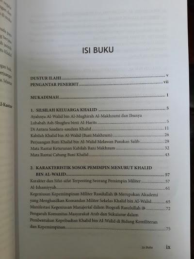 Buku Khalid Bin Al-Walid Panglima Yang Tak Terkalahkan Daftar Isi