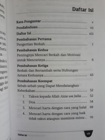 Buku Kiat Meraih Keberkahan Daftar Isi