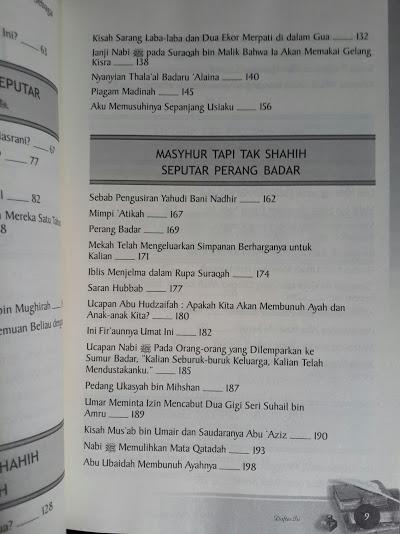 Buku Masyhur Tapi Tak Shahih Dalam Sirah Nabawiyah Cover Belakang Daftar Isi