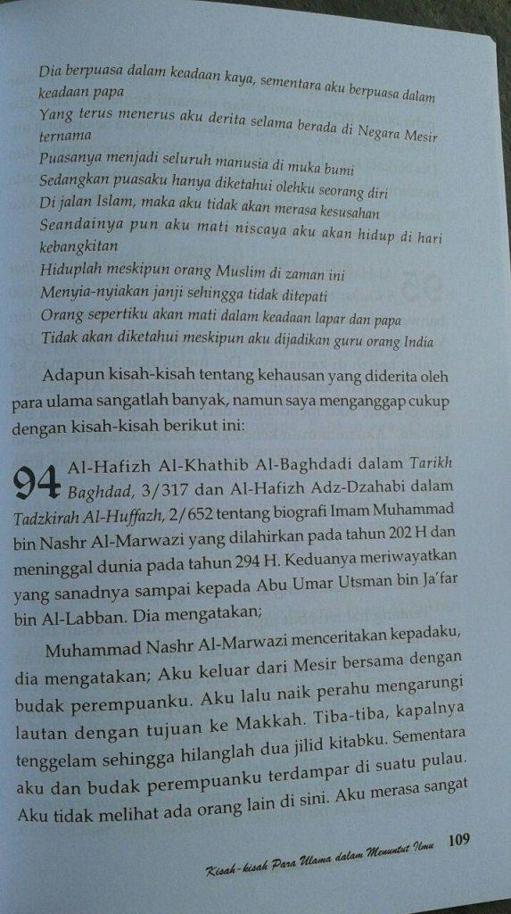Buku Kisah Kisah Para Ulama Dalam Menuntut Ilmu isi 4