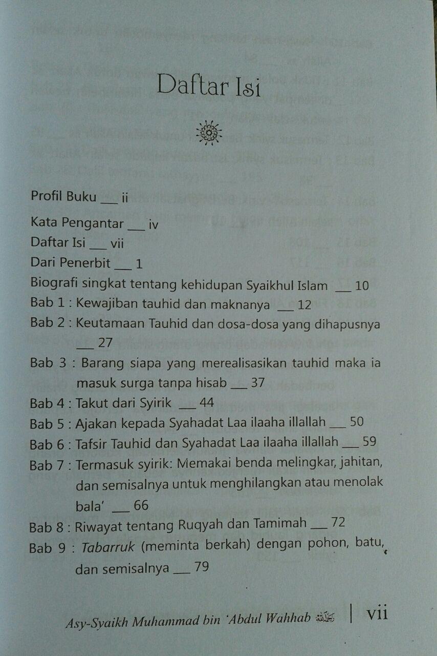 Buku Kitab Tauhid Dilengkapi Faedah Faedah Ayat Hadits Atsar isi