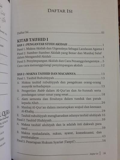 Buku Kitab Tauhid Oleh Syaikh Fauzan Daftar Isi