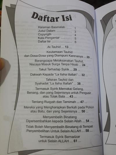 Buku Kitab Tauhid Syaikh Muhammad At-Tamimi Daftar Isi