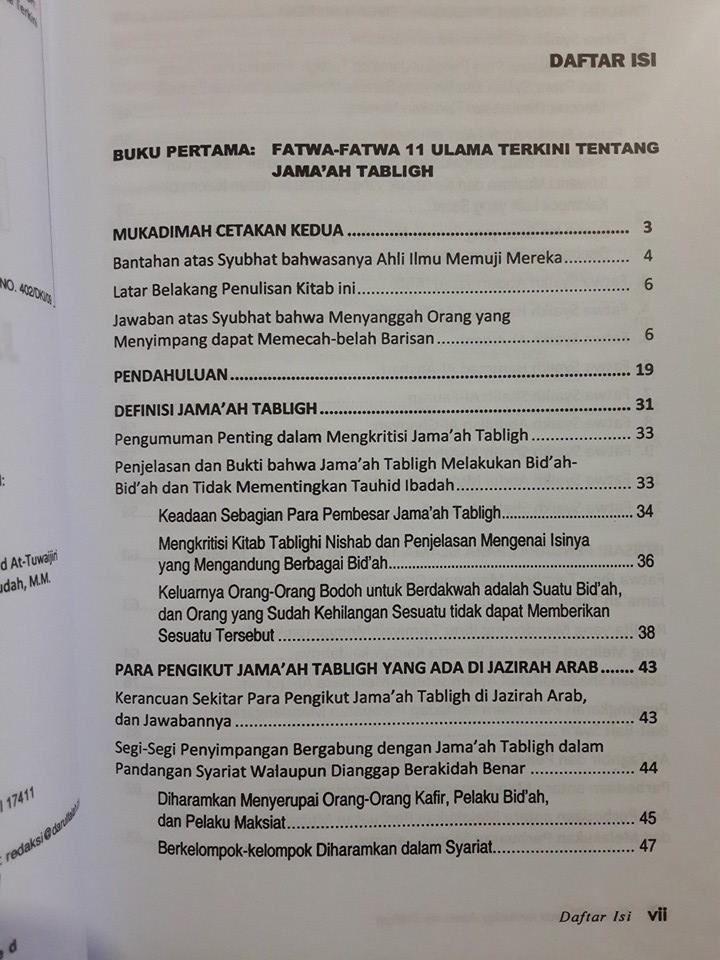 Buku Koreksi Tuntas Terhadap Jamaah Tabligh Daftar Isi