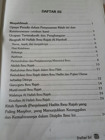 Buku Kumpulan Tulisan Ibnu Rajab Daftar Isi