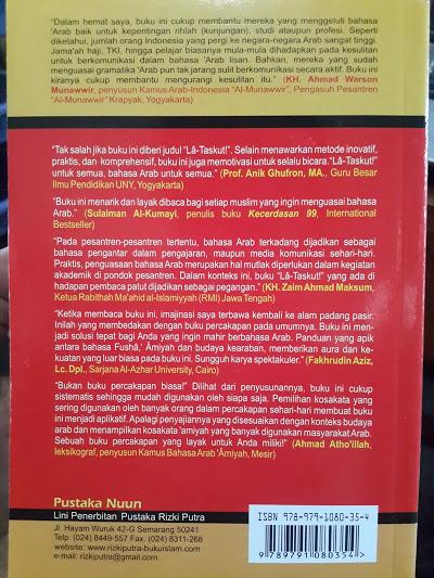 Buku La Taskut Panduan Praktis Percakapan Bahasa Arab Cover Belakang