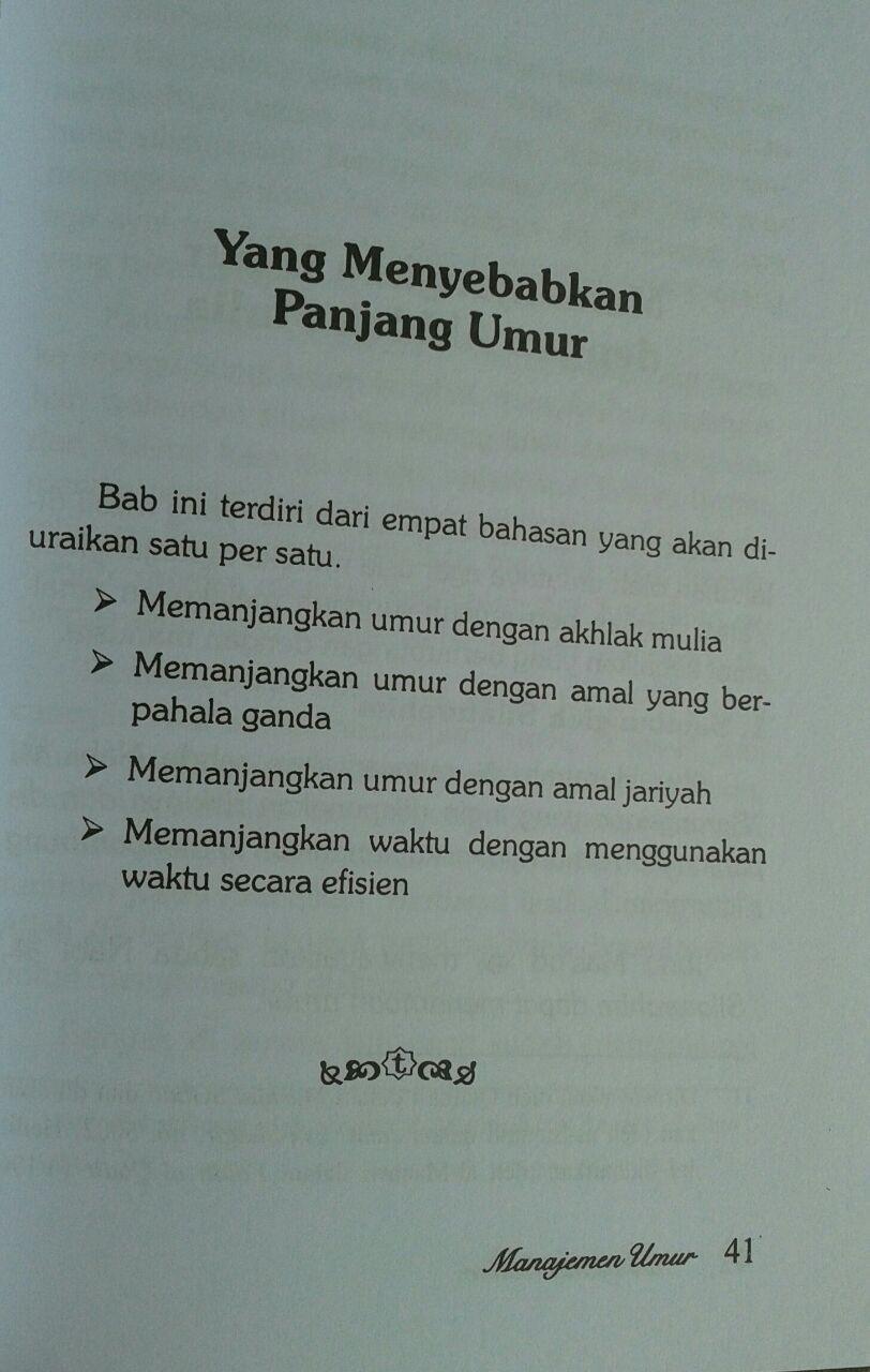 Buku Manajemen Umur Resep Sunnah Menambah Pahala Dan Usia isi 3