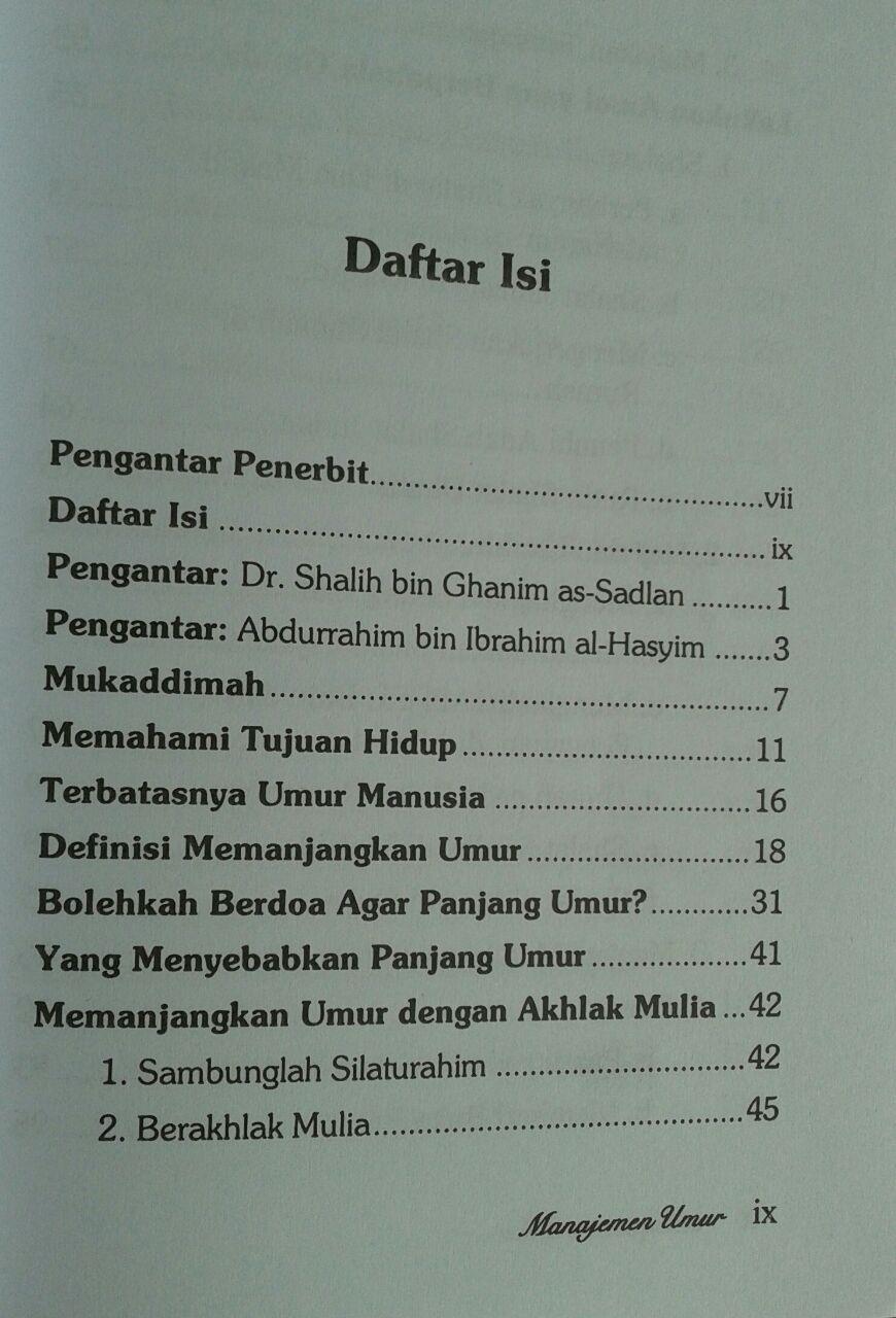 Buku Manajemen Umur Resep Sunnah Menambah Pahala Dan Usia isi 4