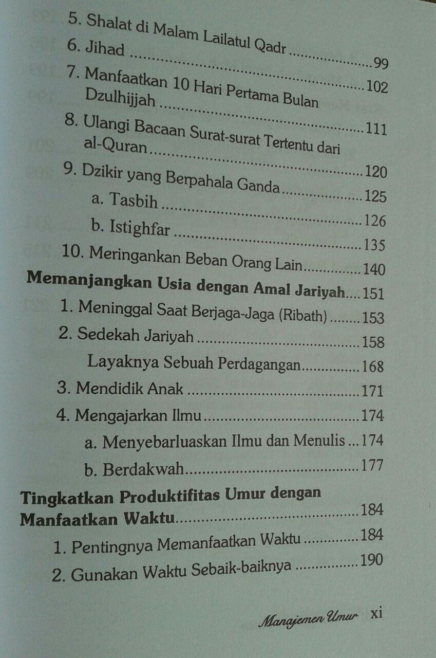 Buku Manajemen Umur Resep Sunnah Menambah Pahala Dan Usia isi 5