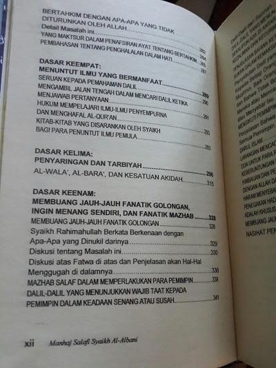 Buku Manhaj Salafi Syaikh Al-Albani Isi