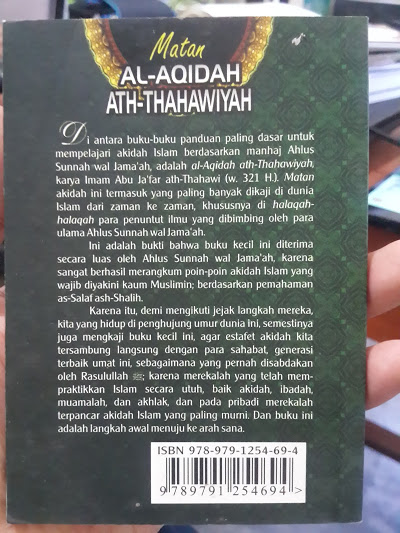 Buku Saku Matan Al-Aqidah Ath-Thahawiyah Cover Belakang