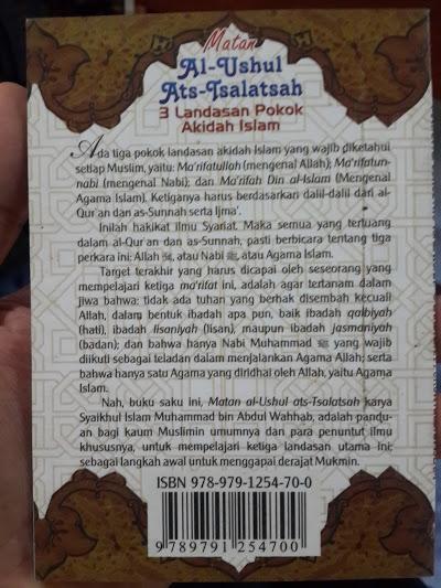 Buku Saku Matan Al-Utshul Ats-Tsalatsah Cover Belakang