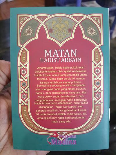 Buku Saku Matan Hadits Arbain Imam An-Nawawi Cover Belakang