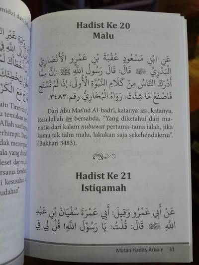 Buku Saku Matan Hadits Arbain Imam An-Nawawi Isi