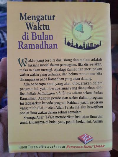 Buku Saku Mengatur Waktu Di Bulan Ramadhan Cover Belakang