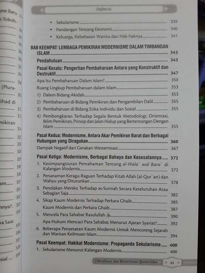 Buku Mengupas Gerakan Modernisasi Liberalisme Ajaran Islam Daftar Isi