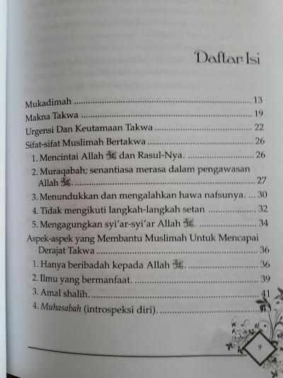 Buku Menjadi Wanita Paling Mulia Daftar Isi