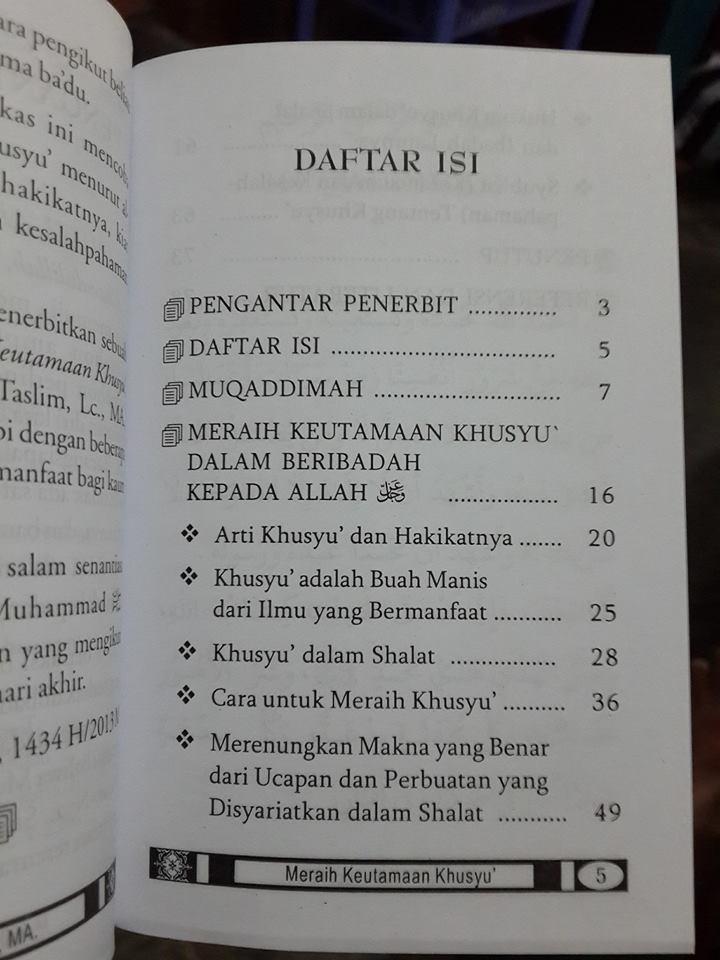 Buku Saku Meraih Keutamaan Khusyu Menurut Quran Sunnah Daftar Isi