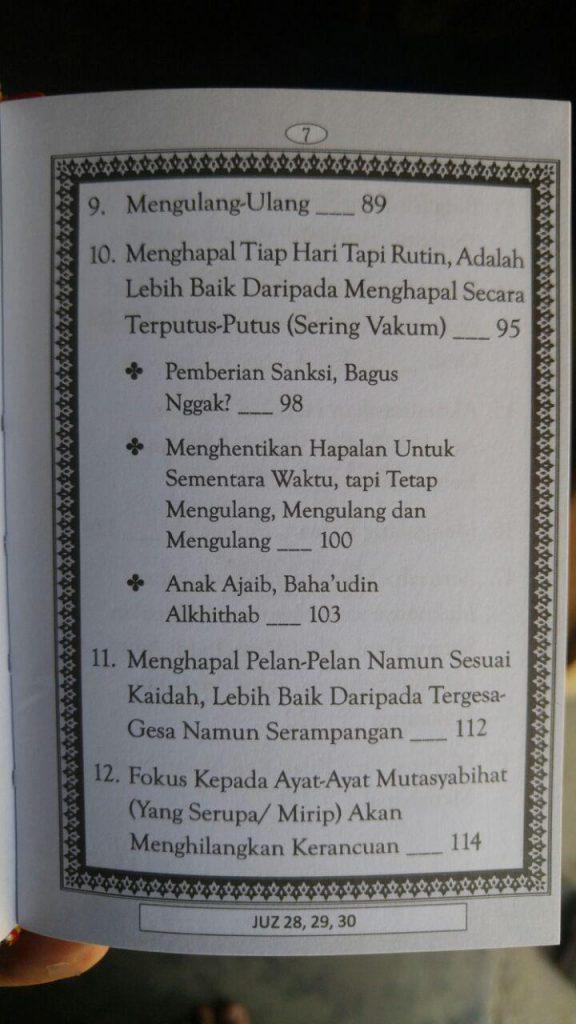 Buku Metode Cepat Hafal Al-Qur'an Plus Bonus Juz 28-30 isi