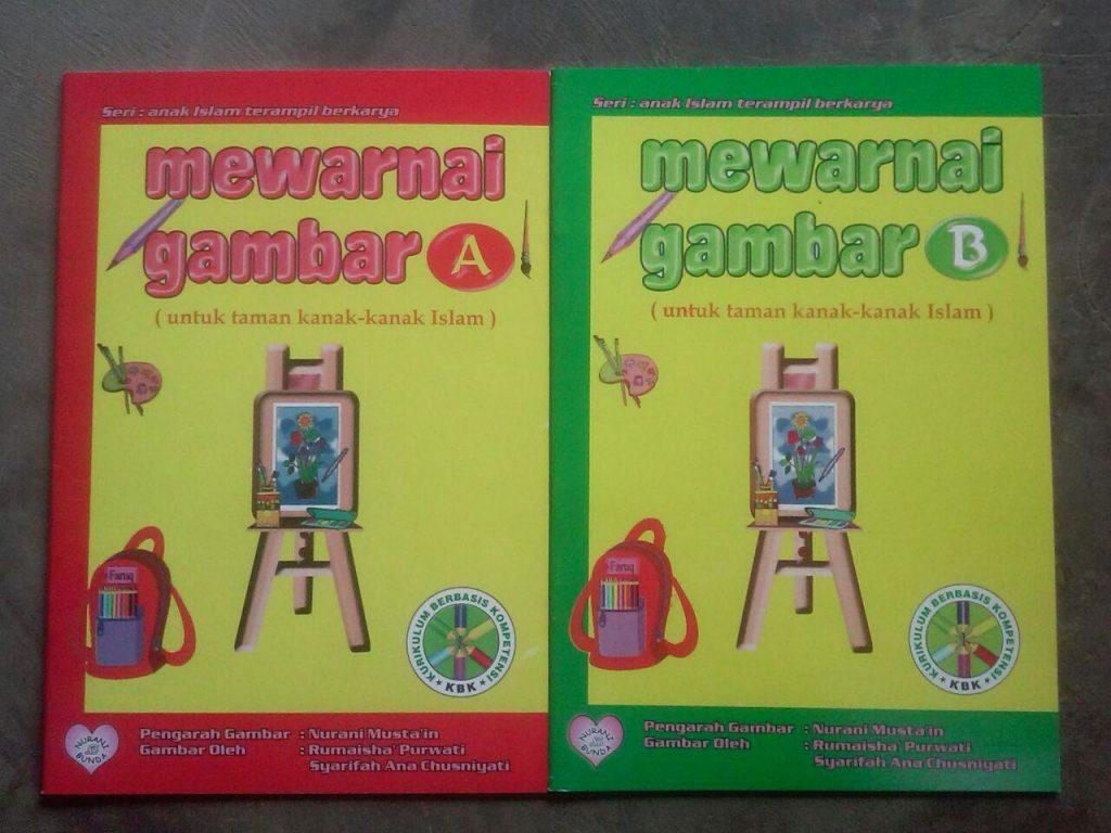 Buku Mewarnai Gambar A Dan B Untuk TK Islam Cover Set