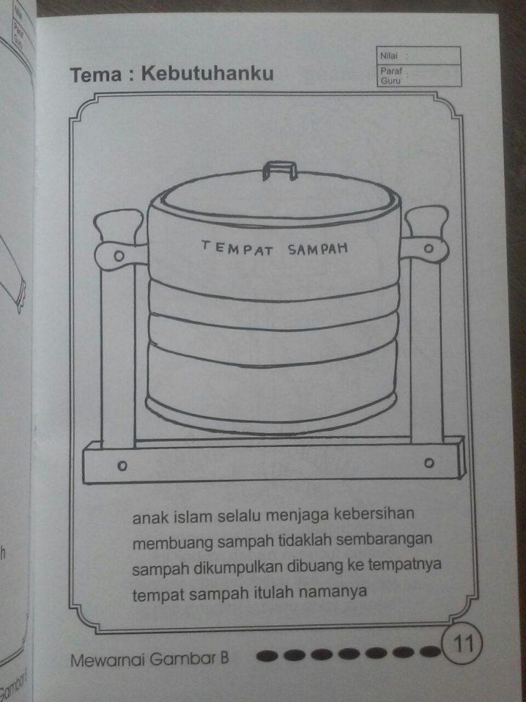 Buku Mewarnai Gambar A Dan B Untuk TK Islam Isi 2