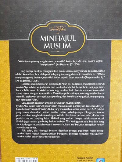 Buku Minhajul Muslim Panduan Hidup Muslim Kaffah Cover Belakang